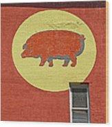 Pig On A Wall Wood Print
