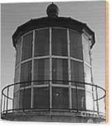 Pigeon Point Lighthouse Beacon - Black And White Wood Print