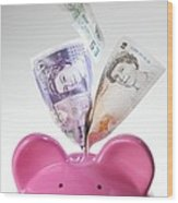 Piggy Bank And British Pounds Wood Print by Tek Image