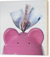 Piggy Bank And Euros Wood Print by Tek Image