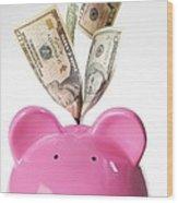 Piggy Bank And Us Dollars Wood Print by Tek Image