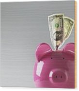 Piggy Bank With Us Dollars Wood Print by Tek Image