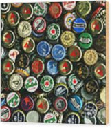 Pile Of Beer Bottle Caps . 9 To 12 Proportion Wood Print