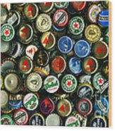 Pile Of Beer Bottle Caps . 9 To 16 Proportion Wood Print