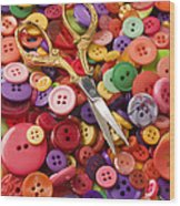 Pile Of Buttons With Scissors  Wood Print by Garry Gay