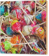 Pile Of Lollipops - Painterly Wood Print