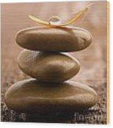 Pile Of Massage Stones Wood Print