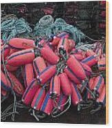 Pile Of Pink And Blue Buoys Wood Print