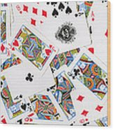 Pile Of Playing Cards Wood Print