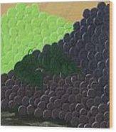Pile Of Wine Grapes Wood Print