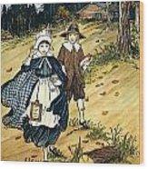 Pilgrim Schoolchildren Wood Print