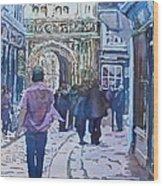 Pilgrims At The Gate Wood Print