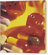 Pills And Dice Wood Print