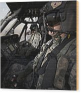 Pilot In The Cockpit Of A Uh-60l Wood Print