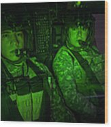 Pilots In The Cockpit Of An Oh-58d Wood Print