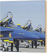 Pilots Of The Blue Angels Flight Wood Print
