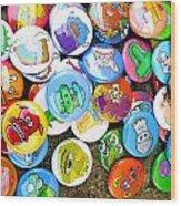 Pinback Buttons Wood Print by Jera Sky