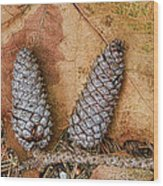 Pine Cones And Leaves Wood Print