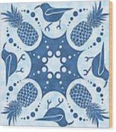 Pineapple And IIwi Hawaiian Quilt Block Wood Print