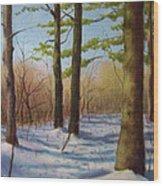 Pines In Winter Wood Print