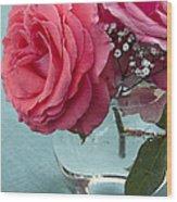 Pink And Aqua Roses Wood Print