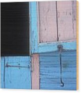 Pink And Blue Shutters Barahona Dominican Republic Wood Print