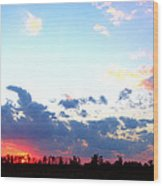 Pink And Blue Sunset Wood Print