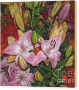 Pink And Color Lilies Wood Print