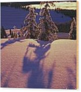 Pink And Purple Sunrise Shadows Of Snow Wood Print by Natural Selection Craig Tuttle