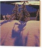 Pink And Purple Sunrise Shadows Of Snow Wood Print