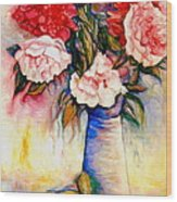 Pink And Red Peony Roses In A Tall Blue Porcelain Vase Wood Print