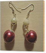 Pink And White Ball Drop Earrings Wood Print by Jenna Green