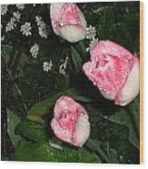 Pink And White Tulips In The Rain Wood Print