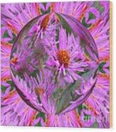 Pink Asters Energy Wood Print