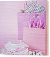 Pink Baby Shower Presents Wood Print