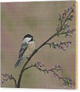Pink Bud Chickadees - Bird 1 Wood Print