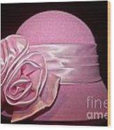 Pink Cloche Hat Wood Print