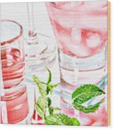 Pink Cocktails Wood Print by HD Connelly