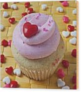 Pink Cupcake With Candy Hearts Wood Print