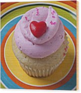 Pink Cupcake With Red Heart Wood Print