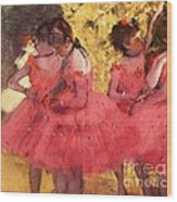 Pink Dancers Before Ballet Wood Print by Pg Reproductions