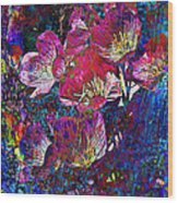 Pink Floral Abstract Wood Print