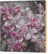Pink Flowering Crabapple And Grunge Wood Print