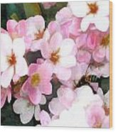 Pink Flowers With Bee Wood Print