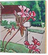Pink Geranium Sketchbook Project Down My Street Wood Print