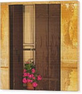Pink Geraniums Brown Shutters And Yellow Window In Italy Wood Print
