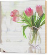 Pink Glass Vase Of Pink Tulips In Window Wood Print