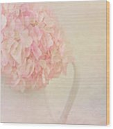 Pink Hydrangea Flowers In White Vase Wood Print
