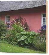 Pink Irish Cottage Wood Print