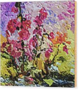 Pink Lavatera Wood Print